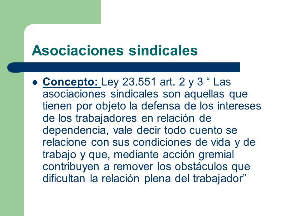 Asociaciones sindicales Concepto: Ley 23.551 art.