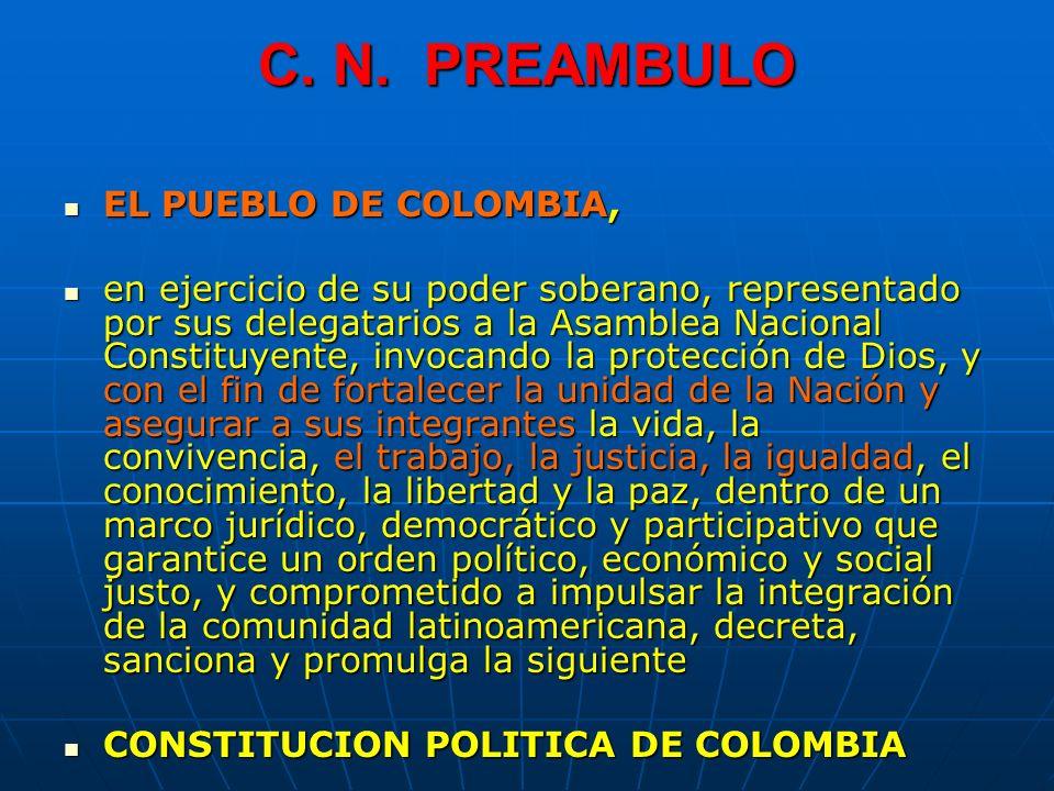 C. N. PREAMBULO EL PUEBLO DE COLOMBIA, EL PUEBLO DE COLOMBIA, en ejercicio de su poder soberano, representado por sus delegatarios a la Asamblea Nacio