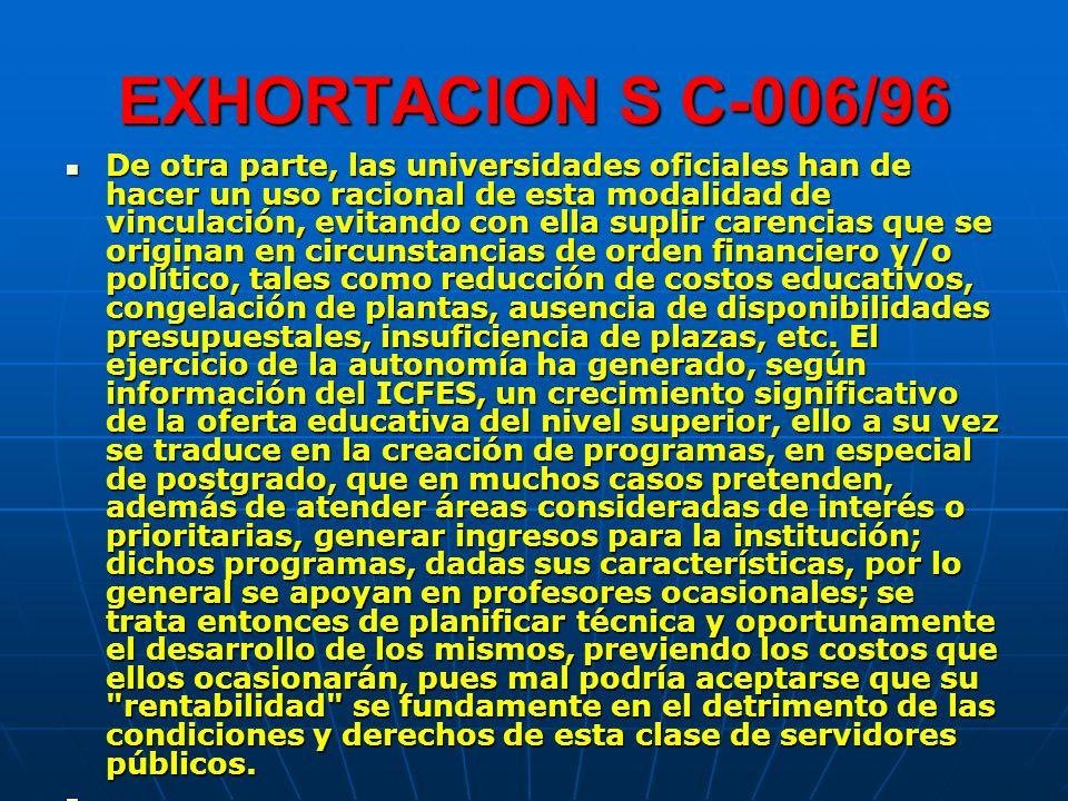 EXHORTACION S C-006/96 De otra parte, las universidades oficiales han de hacer un uso racional de esta modalidad de vinculación, evitando con ella sup