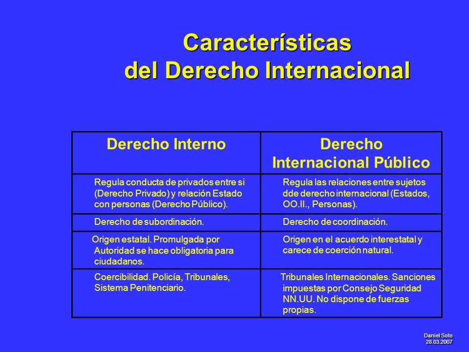 Daniel Soto 28.03.2007 Características del Derecho Internacional Derecho InternoDerecho Internacional Público Regula conducta de privados entre si (De
