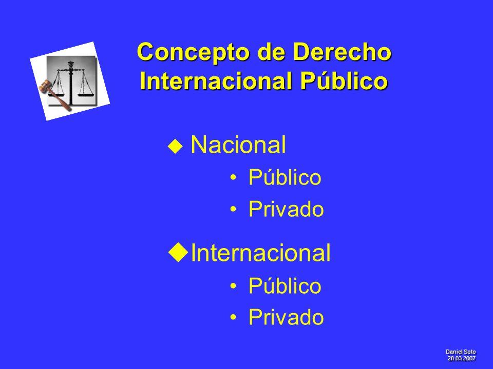 Daniel Soto 28.03.2007 Concepto de Derecho Internacional Público u u Nacional Público Privado u uInternacional Público Privado