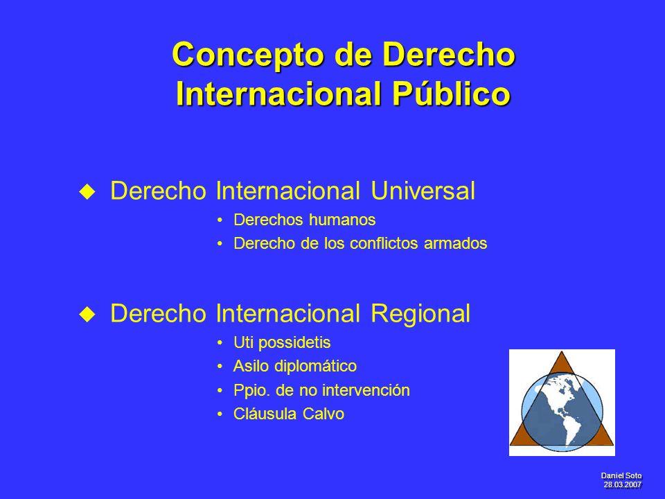 Daniel Soto 28.03.2007 Concepto de Derecho Internacional Público u u Derecho Internacional Universal Derechos humanos Derecho de los conflictos armado