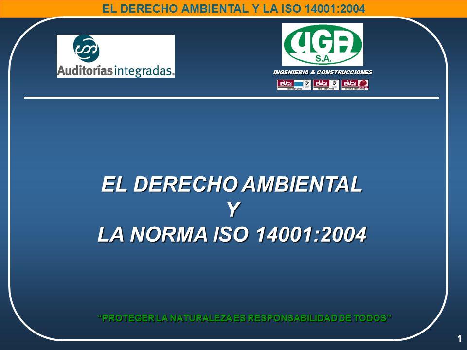 22 EL DERECHO AMBIENTAL Y LA ISO 14001:2004 PROTEGER LA NATURALEZA ES RESPONSABILIDAD DE TODOS TODAS LAS PERSONAS NECESITAN EL MEDIO AMBIENTE PARA VIVIR.