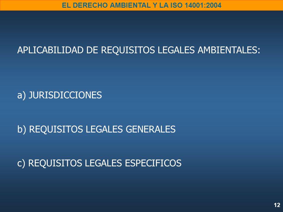 12 EL DERECHO AMBIENTAL Y LA ISO 14001:2004 APLICABILIDAD DE REQUISITOS LEGALES AMBIENTALES: a) JURISDICCIONES b) REQUISITOS LEGALES GENERALES c) REQU