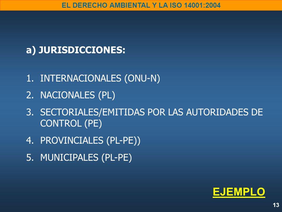 13 EL DERECHO AMBIENTAL Y LA ISO 14001:2004 a) JURISDICCIONES: 1. 1.INTERNACIONALES (ONU-N) 2. 2.NACIONALES (PL) 3. 3.SECTORIALES/EMITIDAS POR LAS AUT