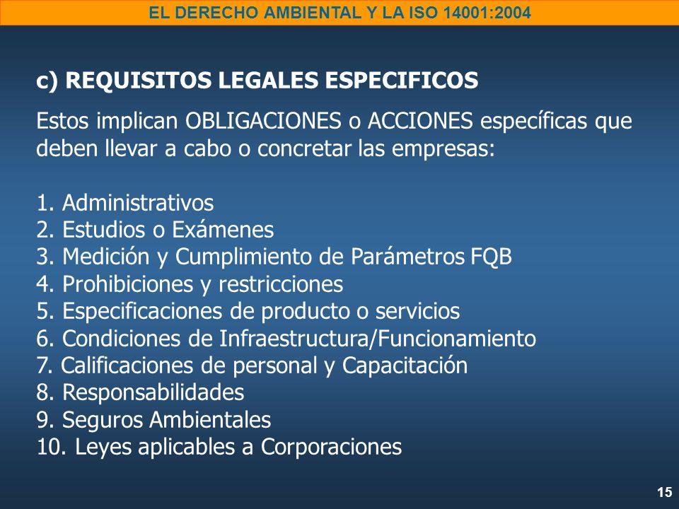 15 EL DERECHO AMBIENTAL Y LA ISO 14001:2004 c) REQUISITOS LEGALES ESPECIFICOS Estos implican OBLIGACIONES o ACCIONES específicas que deben llevar a ca