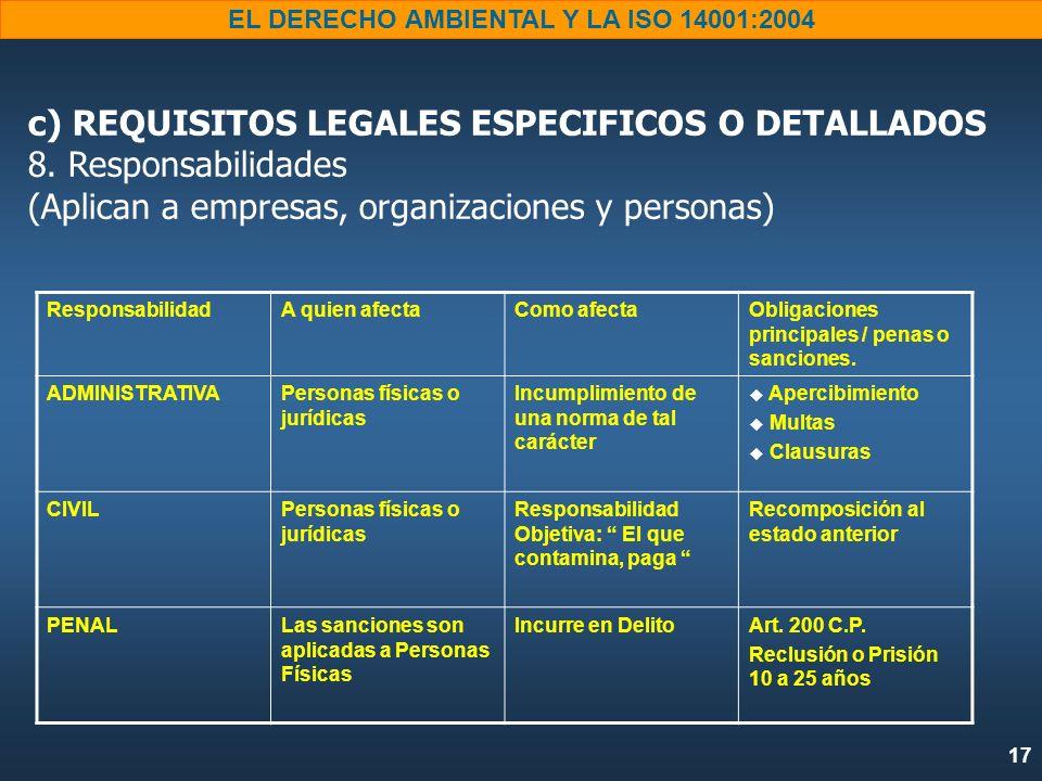 17 EL DERECHO AMBIENTAL Y LA ISO 14001:2004 c) REQUISITOS LEGALES ESPECIFICOS O DETALLADOS 8. Responsabilidades (Aplican a empresas, organizaciones y