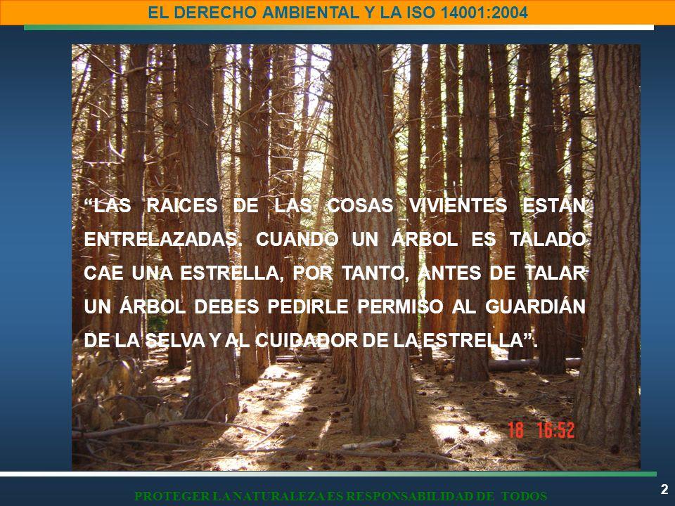 2 EL DERECHO AMBIENTAL Y LA ISO 14001:2004 PROTEGER LA NATURALEZA ES RESPONSABILIDAD DE TODOS LAS RAICES DE LAS COSAS VIVIENTES ESTÁN ENTRELAZADAS. CU