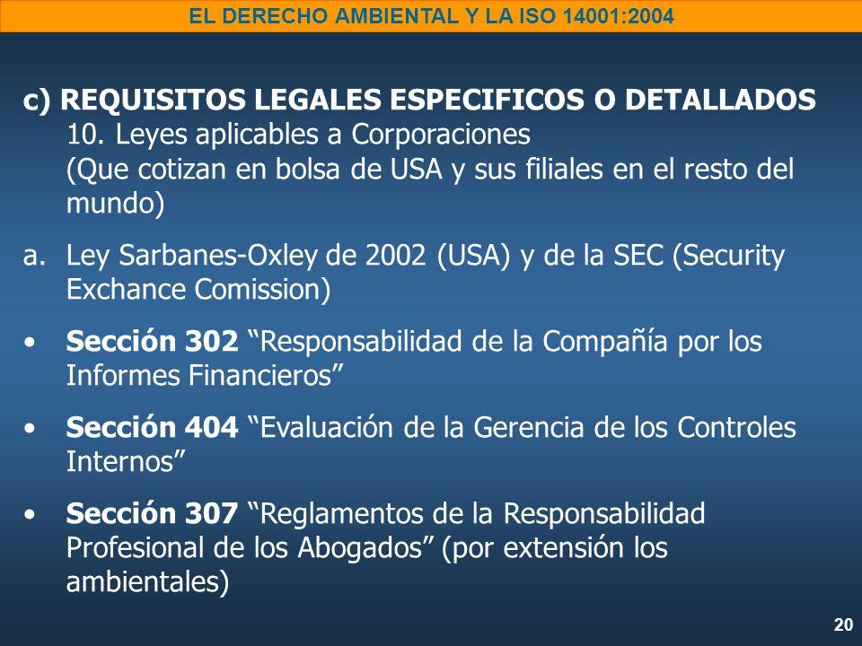 20 EL DERECHO AMBIENTAL Y LA ISO 14001:2004 c) REQUISITOS LEGALES ESPECIFICOS O DETALLADOS 10. Leyes aplicables a Corporaciones (Que cotizan en bolsa