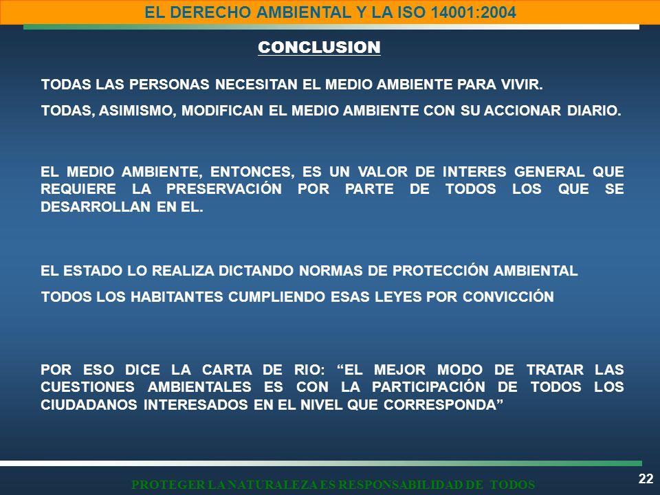 22 EL DERECHO AMBIENTAL Y LA ISO 14001:2004 PROTEGER LA NATURALEZA ES RESPONSABILIDAD DE TODOS TODAS LAS PERSONAS NECESITAN EL MEDIO AMBIENTE PARA VIV