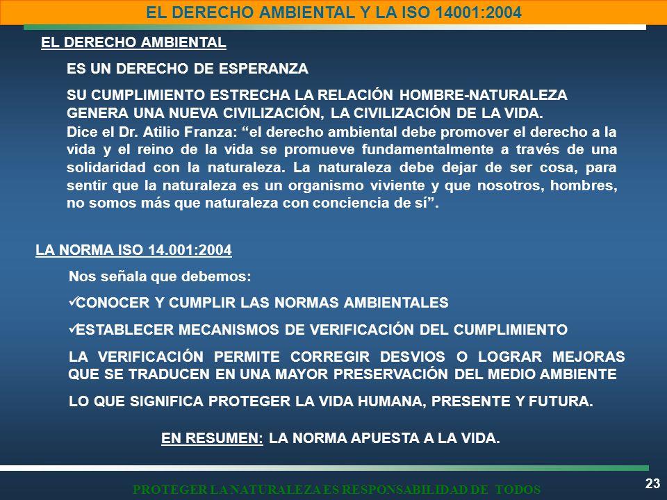 23 EL DERECHO AMBIENTAL Y LA ISO 14001:2004 PROTEGER LA NATURALEZA ES RESPONSABILIDAD DE TODOS EL DERECHO AMBIENTAL LA NORMA ISO 14.001:2004 EN RESUME