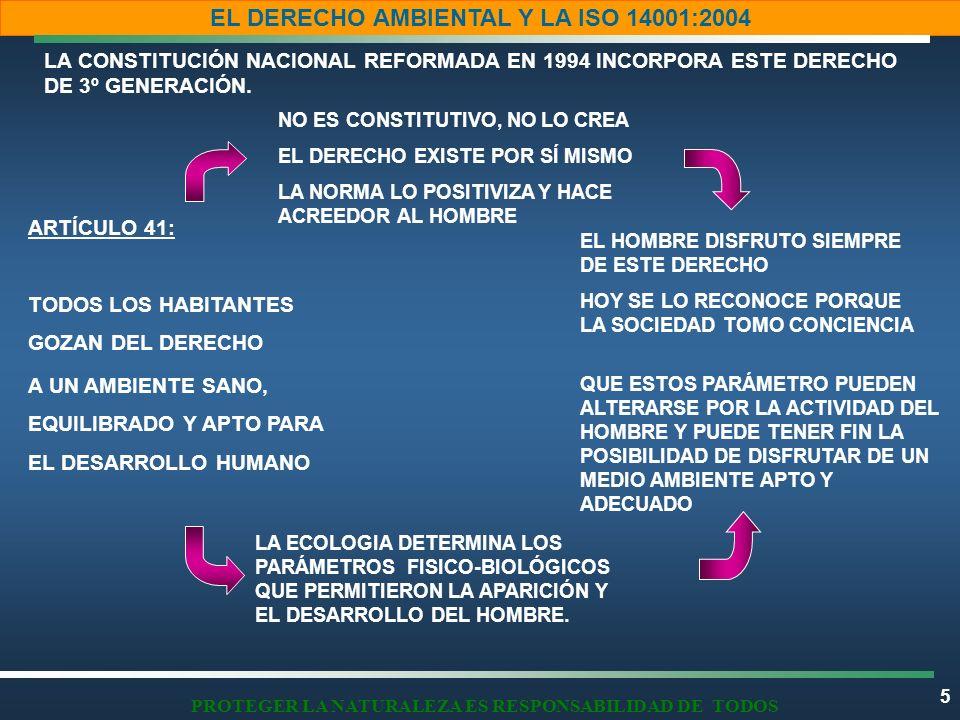 5 EL DERECHO AMBIENTAL Y LA ISO 14001:2004 PROTEGER LA NATURALEZA ES RESPONSABILIDAD DE TODOS LA CONSTITUCIÓN NACIONAL REFORMADA EN 1994 INCORPORA EST