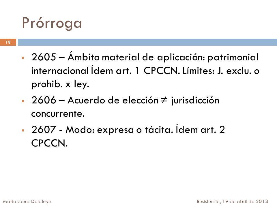 Prórroga 2605 – Ámbito material de aplicación: patrimonial internacional Ídem art. 1 CPCCN. Límites: J. exclu. o prohib. x ley. 2606 – Acuerdo de elec