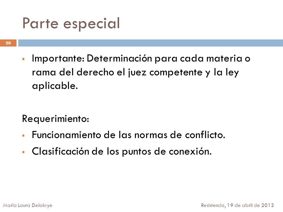 Parte especial Importante: Determinación para cada materia o rama del derecho el juez competente y la ley aplicable. Requerimiento: Funcionamiento de