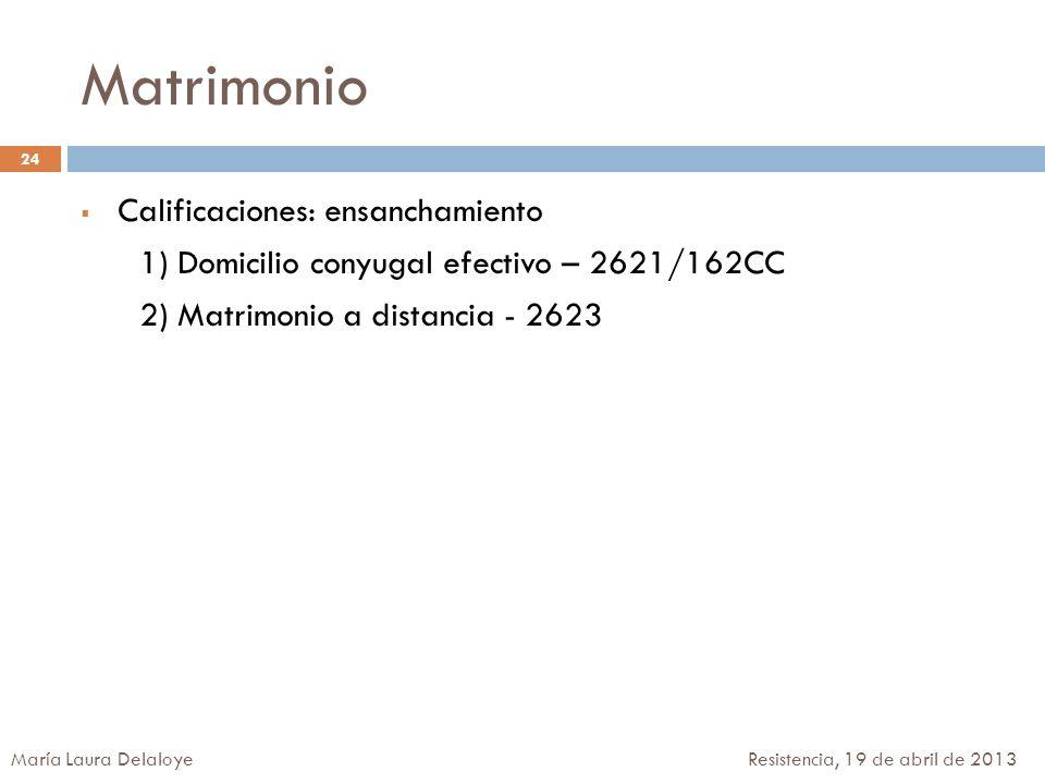 Matrimonio Calificaciones: ensanchamiento 1) Domicilio conyugal efectivo – 2621/162CC 2) Matrimonio a distancia - 2623 24 María Laura Delaloye Resiste