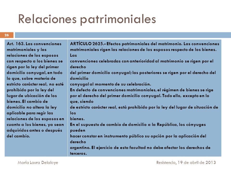 Relaciones patrimoniales Art. 163. Las convenciones matrimoniales y las relaciones de los esposos con respecto a los bienes se rigen por la ley del pr