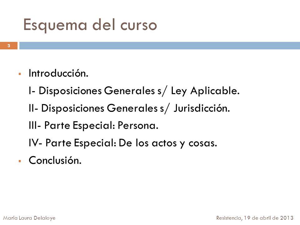 Esquema del curso Introducción. I- Disposiciones Generales s/ Ley Aplicable. II- Disposiciones Generales s/ Jurisdicción. III- Parte Especial: Persona