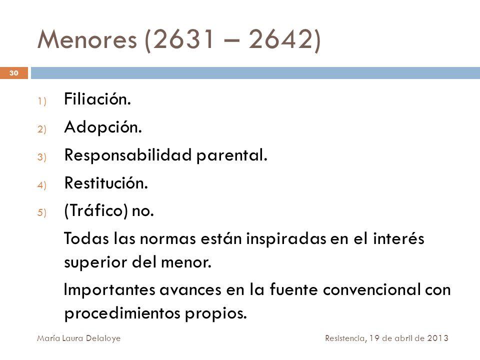 Menores (2631 – 2642) 1) Filiación. 2) Adopción. 3) Responsabilidad parental. 4) Restitución. 5) (Tráfico) no. Todas las normas están inspiradas en el