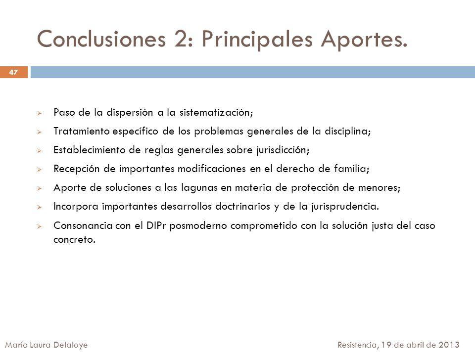 Conclusiones 2: Principales Aportes. Paso de la dispersión a la sistematización; Tratamiento específico de los problemas generales de la disciplina; E