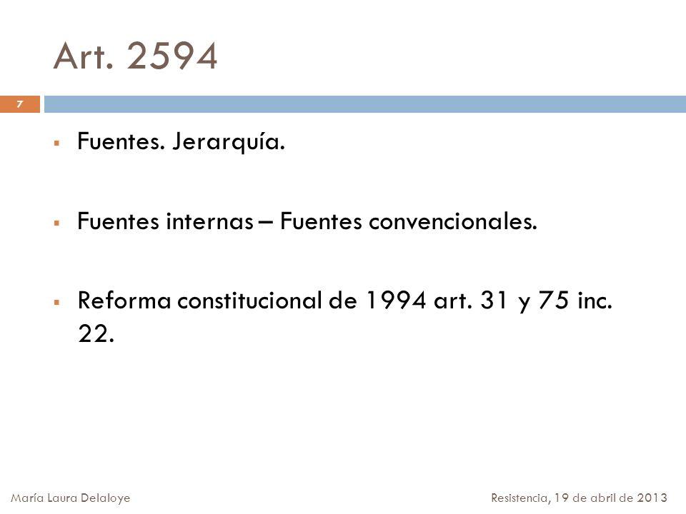 Art. 2594 Fuentes. Jerarquía. Fuentes internas – Fuentes convencionales. Reforma constitucional de 1994 art. 31 y 75 inc. 22. 7 María Laura Delaloye R