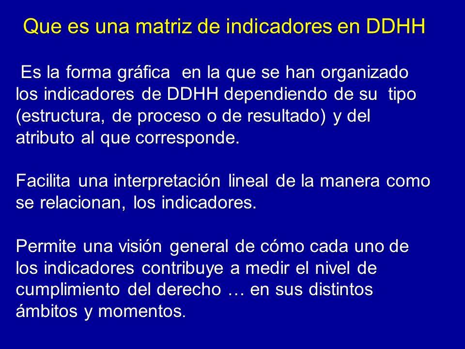 Es la forma gráfica en la que se han organizado los indicadores de DDHH dependiendo de su tipo (estructura, de proceso o de resultado) y del atributo