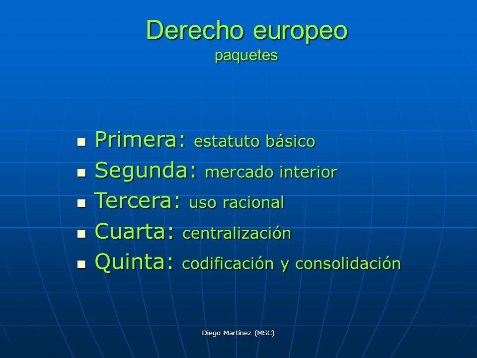 Diego Martínez (MSC) Derecho europeo paquetes Primera: estatuto básico Primera: estatuto básico Segunda: mercado interior Segunda: mercado interior Te