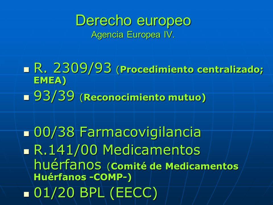 Derecho europeo Agencia Europea IV. R. 2309/93 (Procedimiento centralizado; EMEA) R. 2309/93 (Procedimiento centralizado; EMEA) 93/39 (Reconocimiento