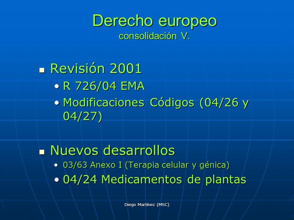 Diego Martínez (MSC) Derecho europeo consolidación V. Revisión 2001 Revisión 2001 R 726/04 EMAR 726/04 EMA Modificaciones Códigos (04/26 y 04/27)Modif
