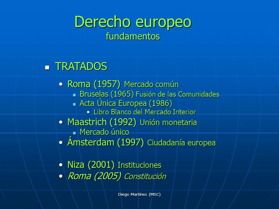 Diego Martínez (MSC) TRATADOS TRATADOS Roma (1957) Mercado comúnRoma (1957) Mercado común Bruselas (1965) Fusión de las Comunidades Bruselas (1965) Fu