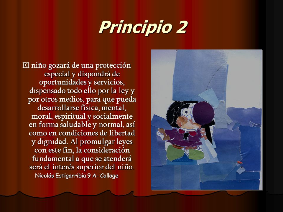 Principio 2 El niño gozará de una protección especial y dispondrá de oportunidades y servicios, dispensado todo ello por la ley y por otros medios, pa