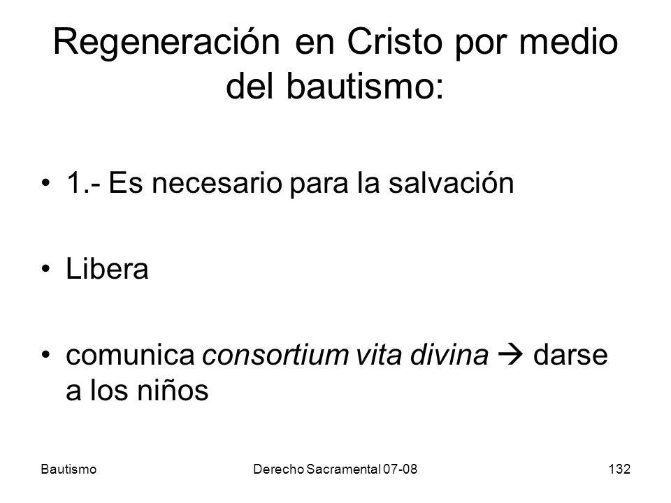 BautismoDerecho Sacramental 07-08132 Regeneración en Cristo por medio del bautismo: 1.- Es necesario para la salvación Libera comunica consortium vita