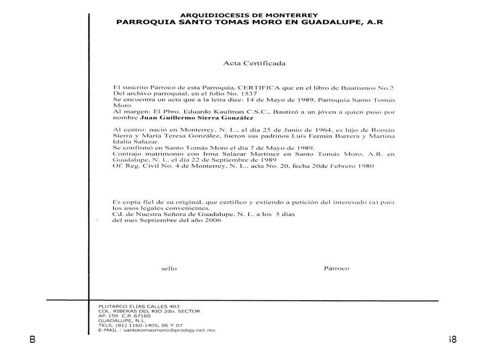 BautismoDerecho Sacramental 07-08168 Acta Certificada