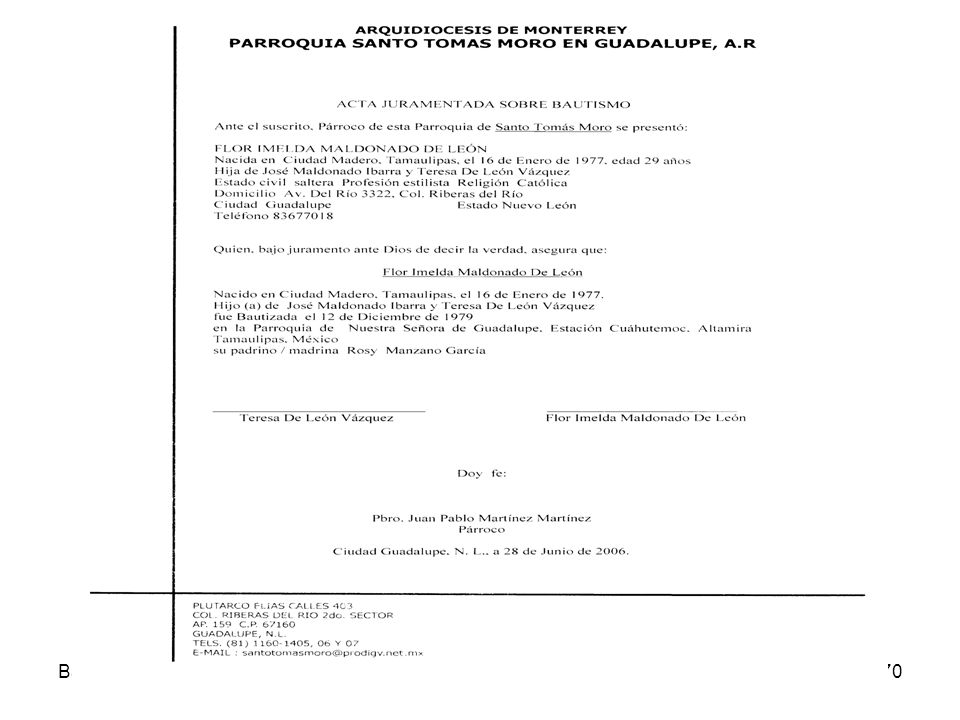 BautismoDerecho Sacramental 07-08170 Acta Juramentada