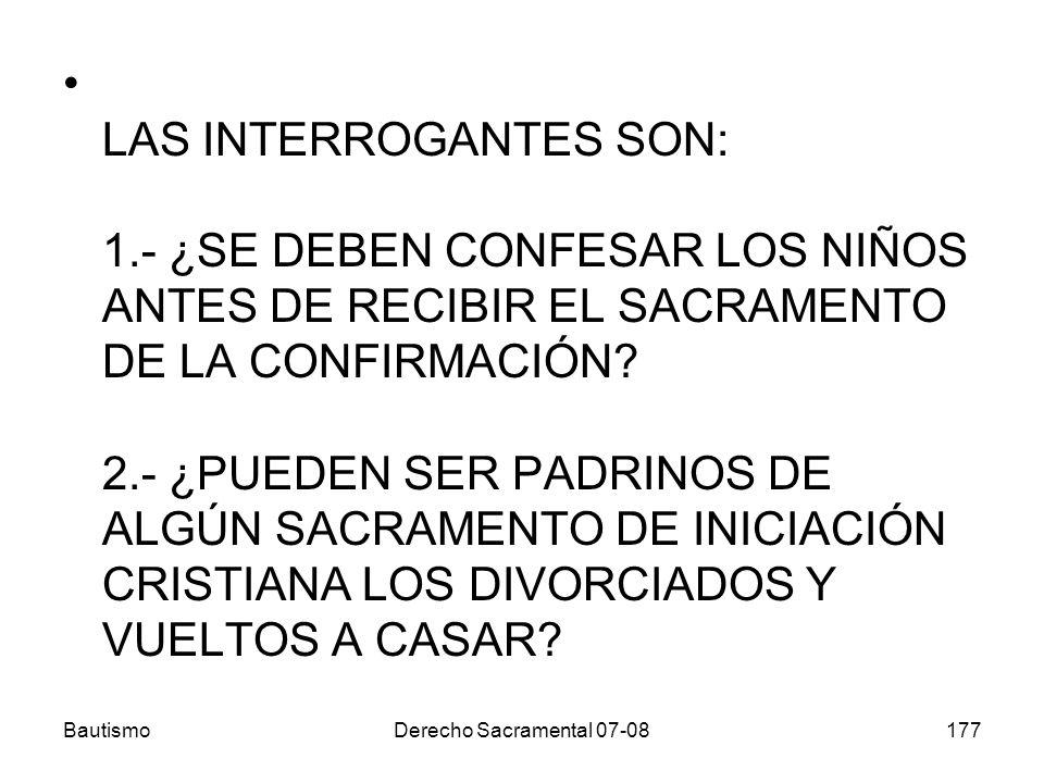 LAS INTERROGANTES SON: 1.- ¿SE DEBEN CONFESAR LOS NIÑOS ANTES DE RECIBIR EL SACRAMENTO DE LA CONFIRMACIÓN? 2.- ¿PUEDEN SER PADRINOS DE ALGÚN SACRAMENT