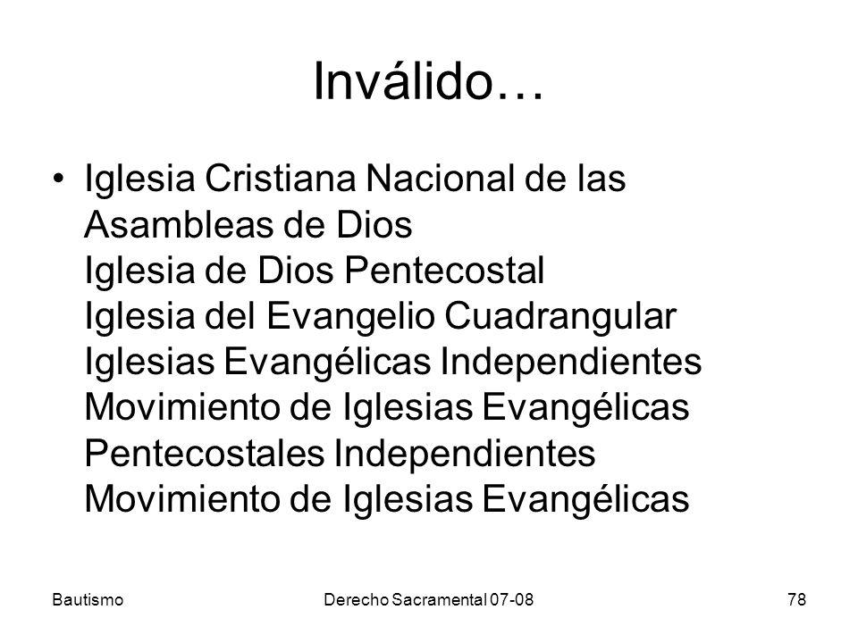 Inválido… Iglesia Cristiana Nacional de las Asambleas de Dios Iglesia de Dios Pentecostal Iglesia del Evangelio Cuadrangular Iglesias Evangélicas Inde