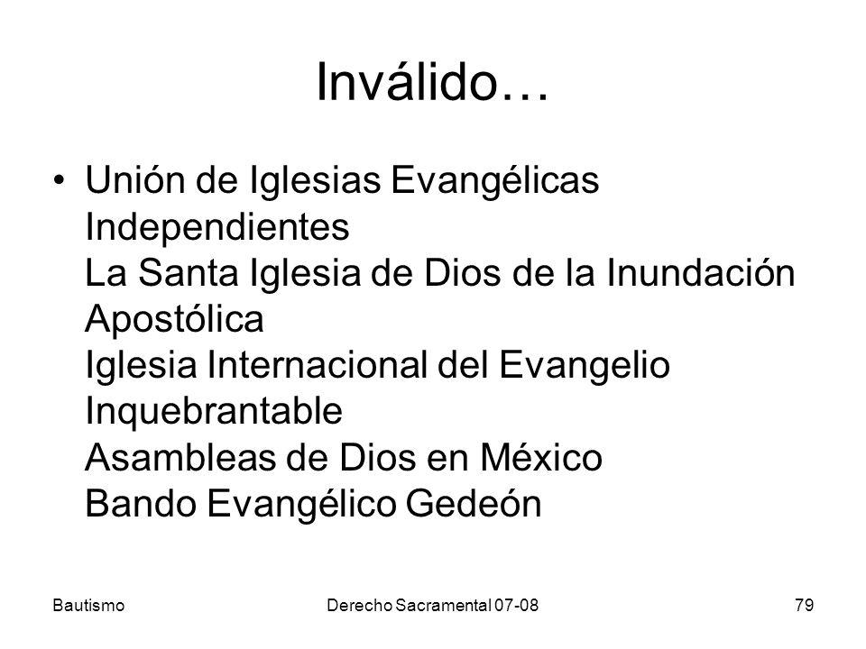 Inválido… Unión de Iglesias Evangélicas Independientes La Santa Iglesia de Dios de la Inundación Apostólica Iglesia Internacional del Evangelio Inqueb