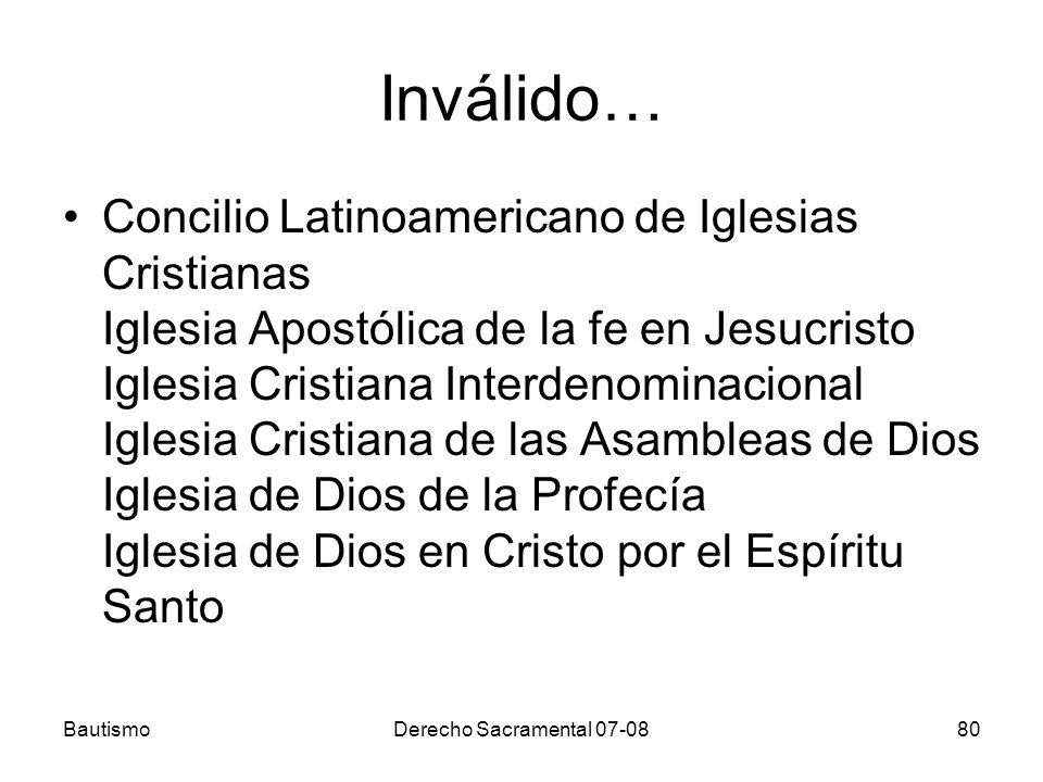 Inválido… Concilio Latinoamericano de Iglesias Cristianas Iglesia Apostólica de la fe en Jesucristo Iglesia Cristiana Interdenominacional Iglesia Cris