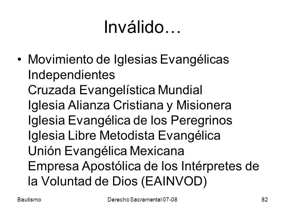 Inválido… Movimiento de Iglesias Evangélicas Independientes Cruzada Evangelística Mundial Iglesia Alianza Cristiana y Misionera Iglesia Evangélica de