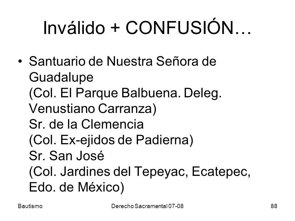 Inválido + CONFUSIÓN… Santuario de Nuestra Señora de Guadalupe (Col. El Parque Balbuena. Deleg. Venustiano Carranza) Sr. de la Clemencia (Col. Ex-ejid