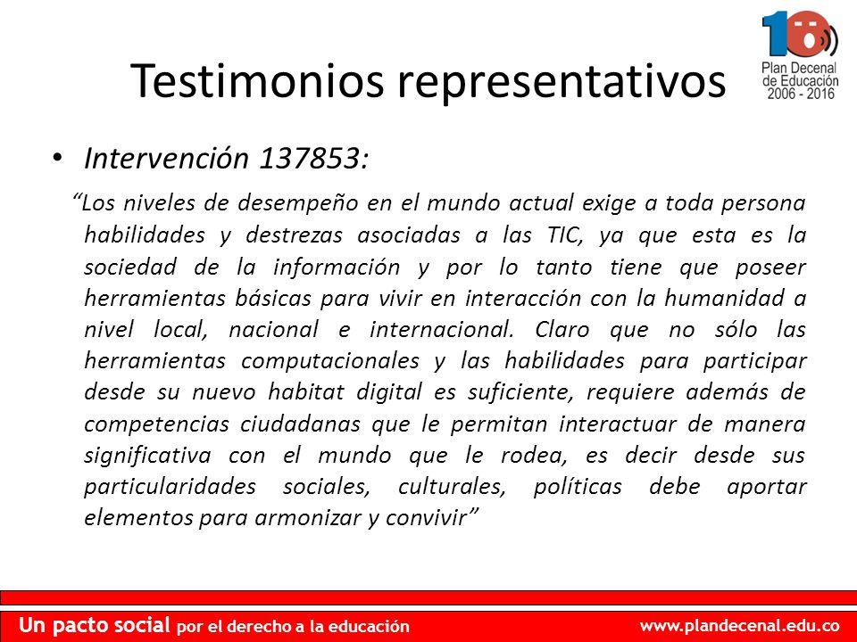 www.plandecenal.edu.co Un pacto social por el derecho a la educación Testimonios representativos Intervención 137853: Los niveles de desempeño en el m