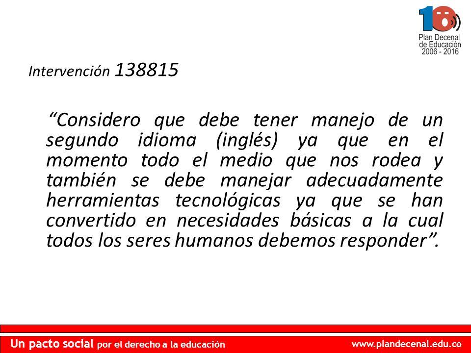 www.plandecenal.edu.co Un pacto social por el derecho a la educación Intervención 138815 Considero que debe tener manejo de un segundo idioma (inglés)