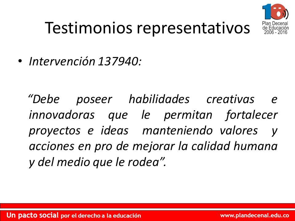 www.plandecenal.edu.co Un pacto social por el derecho a la educación Testimonios representativos Intervención 137940: Debe poseer habilidades creativa
