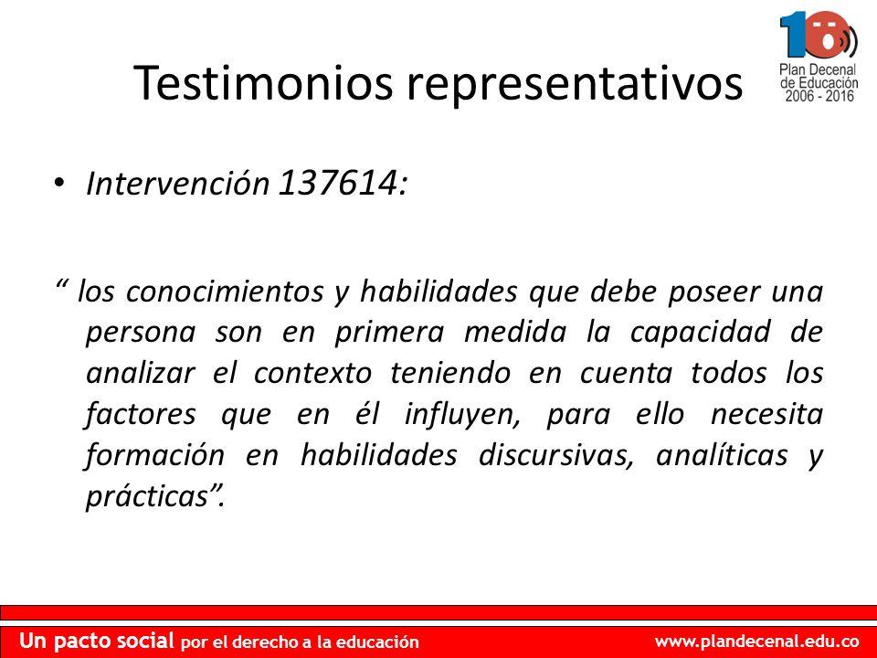 www.plandecenal.edu.co Un pacto social por el derecho a la educación Testimonios representativos Intervención 137614: los conocimientos y habilidades