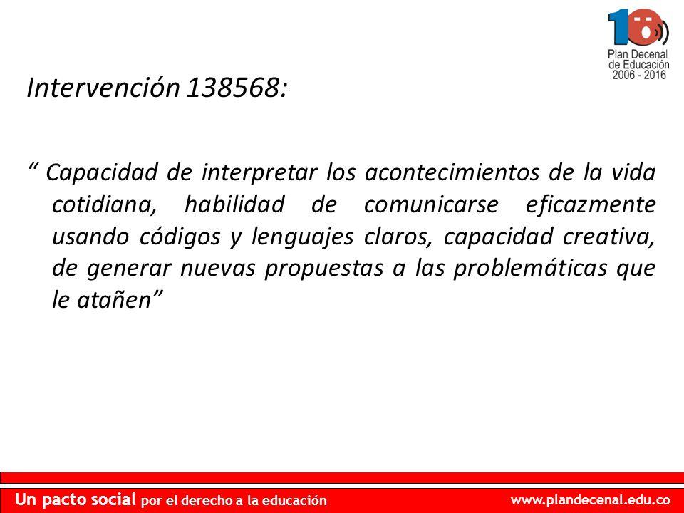 www.plandecenal.edu.co Un pacto social por el derecho a la educación Intervención 138568: Capacidad de interpretar los acontecimientos de la vida coti