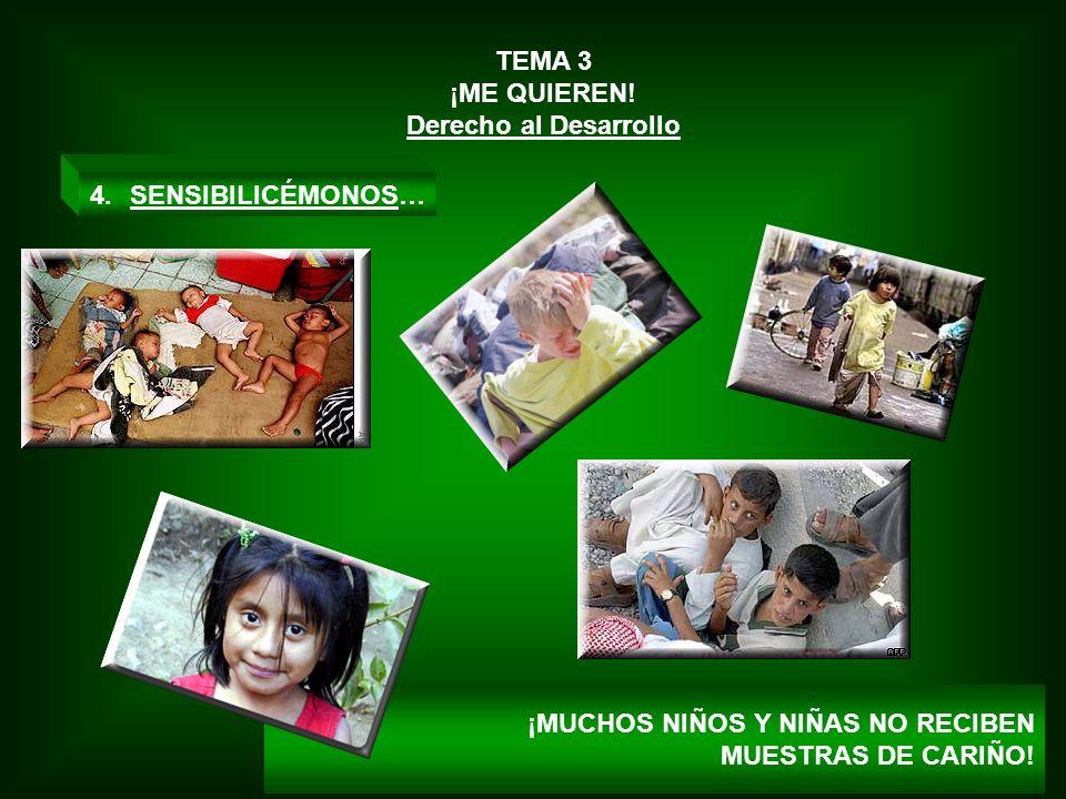 TEMA 3 ¡ME QUIEREN! Derecho al Desarrollo 4.SENSIBILICÉMONOS… ¡MUCHOS NIÑOS Y NIÑAS NO RECIBEN MUESTRAS DE CARIÑO!