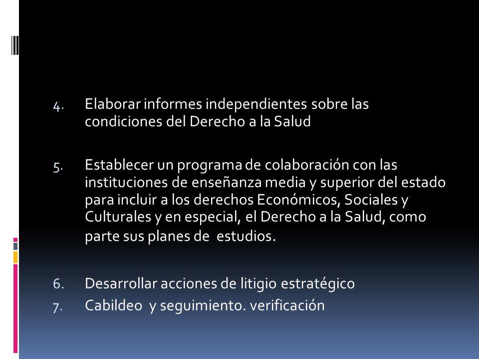 4. Elaborar informes independientes sobre las condiciones del Derecho a la Salud 5.