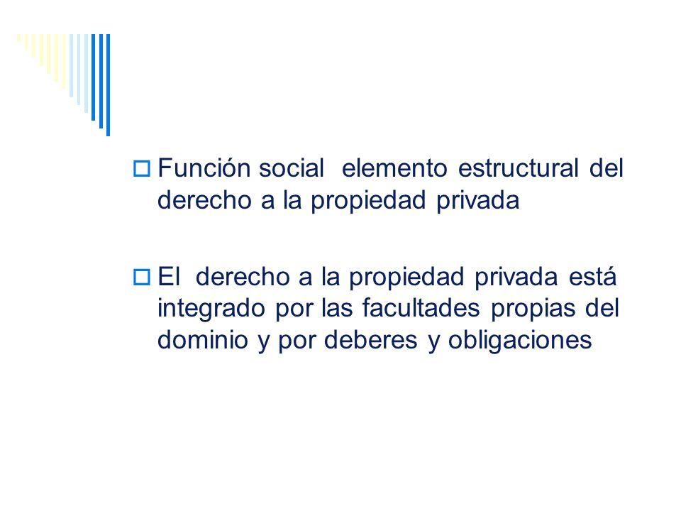 Función social elemento estructural del derecho a la propiedad privada El derecho a la propiedad privada está integrado por las facultades propias del
