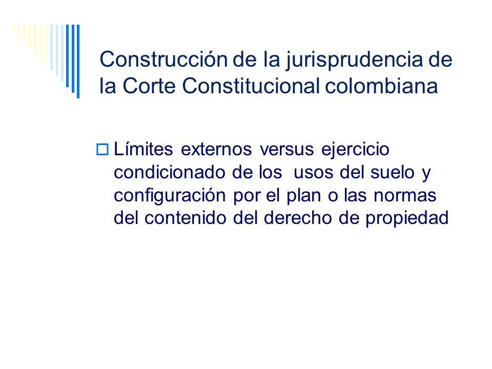 Construcción de la jurisprudencia de la Corte Constitucional colombiana Límites externos versus ejercicio condicionado de los usos del suelo y configu
