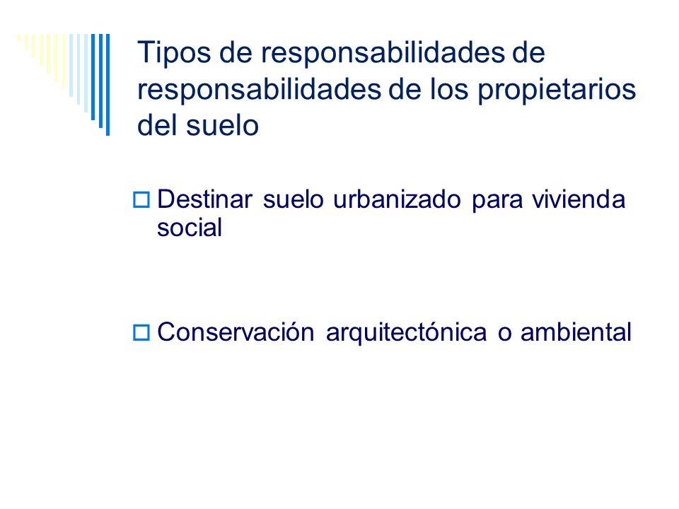 Tipos de responsabilidades de responsabilidades de los propietarios del suelo Destinar suelo urbanizado para vivienda social Conservación arquitectóni
