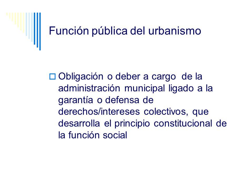 Función pública del urbanismo Obligación o deber a cargo de la administración municipal ligado a la garantía o defensa de derechos/intereses colectivo